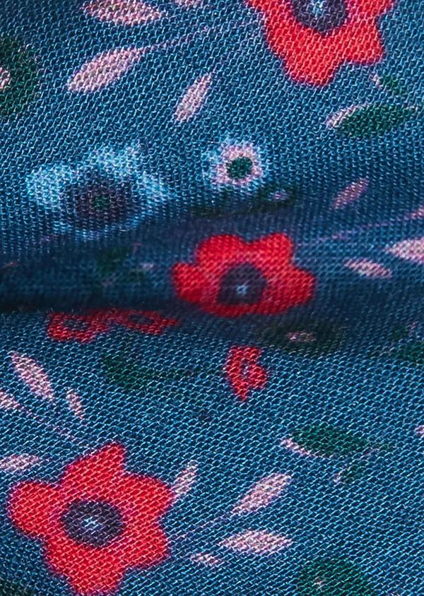 Noeud-papillon en coton bleu à motif fleuri rose fuchsia et vert - Father and Sons 33257