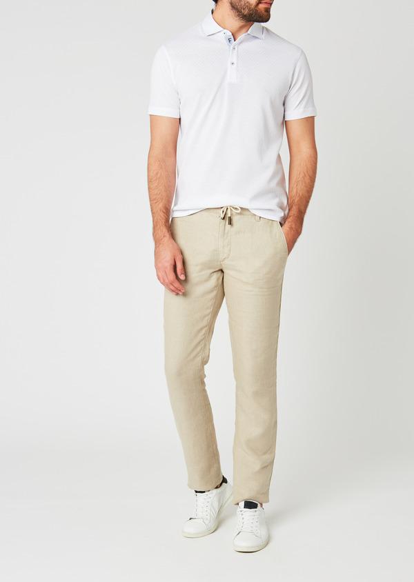 Pantalon Casual en lin uni beige - Father and Sons 20319