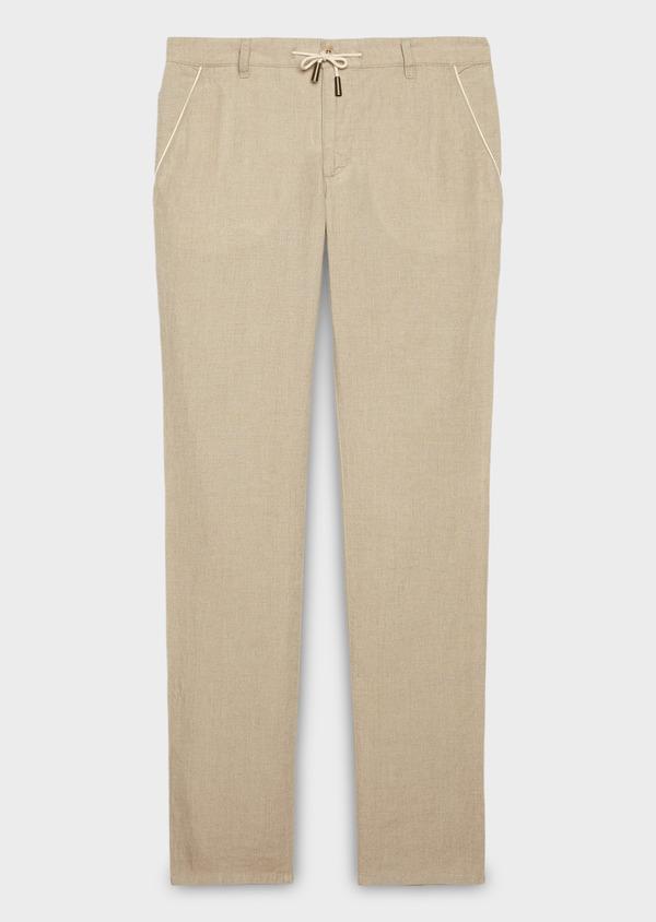 Pantalon Casual en lin uni beige - Father and Sons 20317