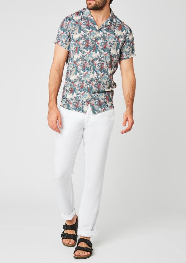 Pantalon Casual en lin uni blanc - Father and Sons 20325