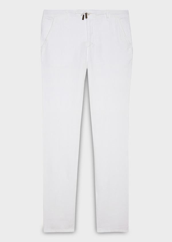 Pantalon Casual en lin uni blanc - Father and Sons 20323