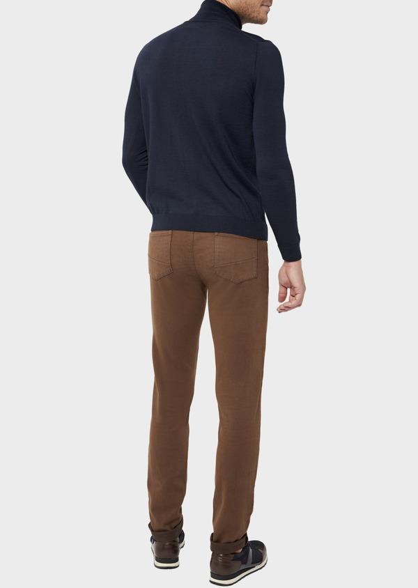 Pantalon casual skinny en coton stretch uni marron - Father and Sons 36134
