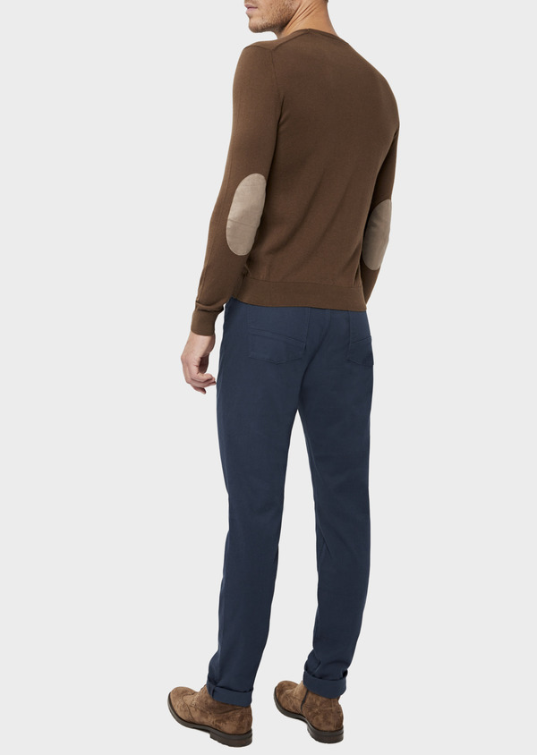 Pantalon casual skinny en coton stretch uni bleu marine - Father and Sons 36146