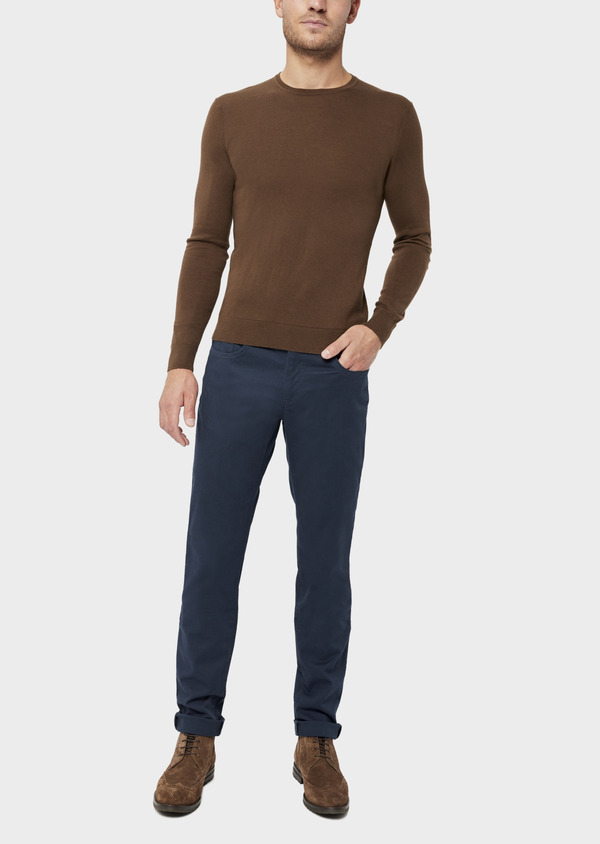 Pantalon casual skinny en coton stretch uni bleu marine - Father and Sons 36145