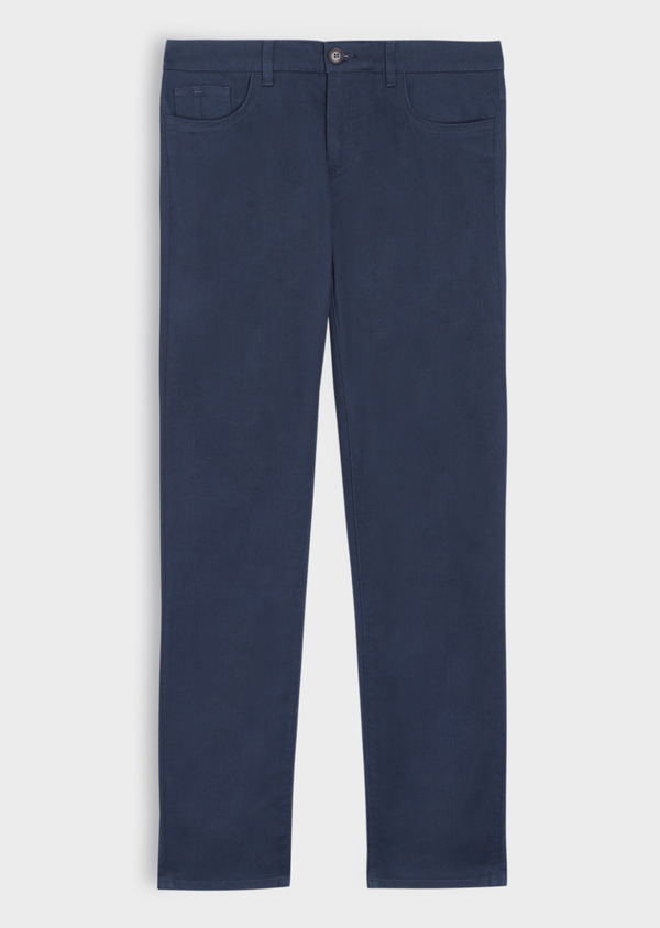 Pantalon casual skinny en coton stretch uni bleu marine - Father and Sons 36143
