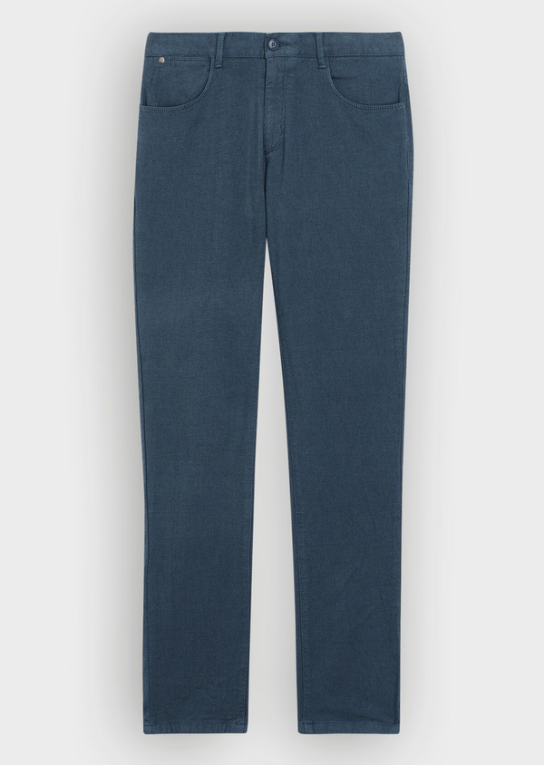 Pantalon casual skinny en coton stretch uni bleu - Father and Sons 36123