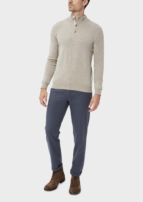 Pantalon casual skinny en coton stretch à motif fantaisie bleu chambray - Father and Sons 35865