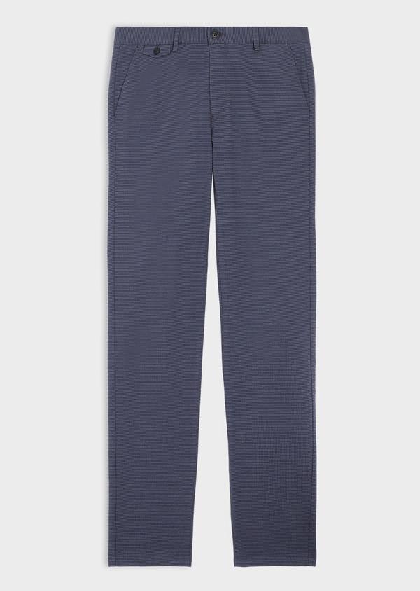 Pantalon casual skinny en coton stretch à motif fantaisie bleu chambray - Father and Sons 35863
