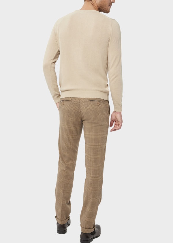 Pantalon casual skinny en coton stretch camel Prince de Galles - Father and Sons 36138