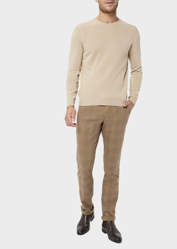 Pantalon casual skinny en coton stretch camel Prince de Galles - Father and Sons 36137