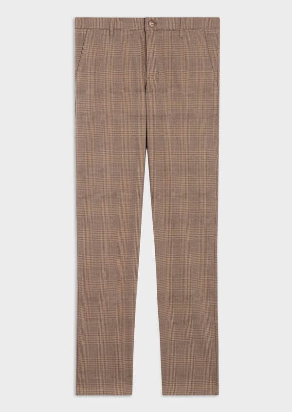 Pantalon casual skinny en coton stretch camel Prince de Galles - Father and Sons 36135