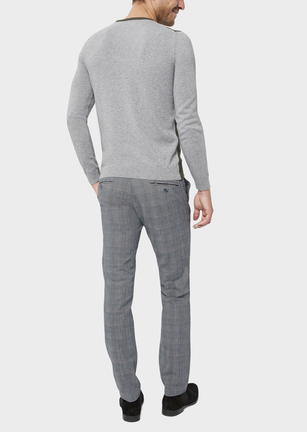 Chino slack skinny en coton gris Prince de Galles - Father and Sons 36514