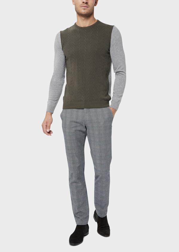 Chino slack skinny en coton gris Prince de Galles - Father and Sons 36513