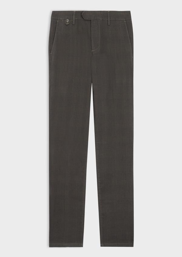 Chino slack skinny en coton mélangé vert kaki Prince de Galles - Father and Sons 36107