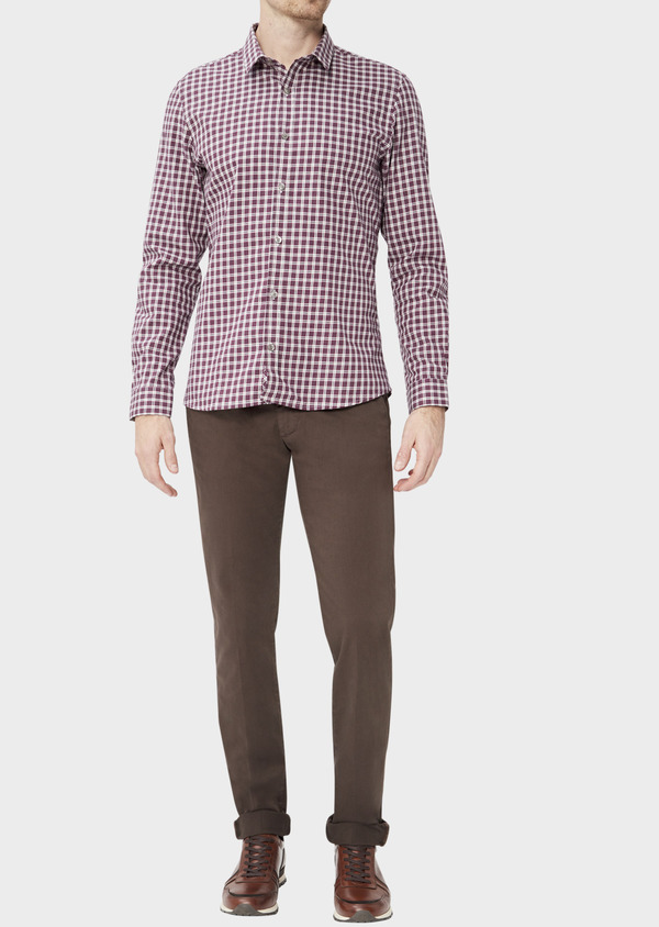 Chino slack skinny en coton stretch uni marron foncé - Father and Sons 37324