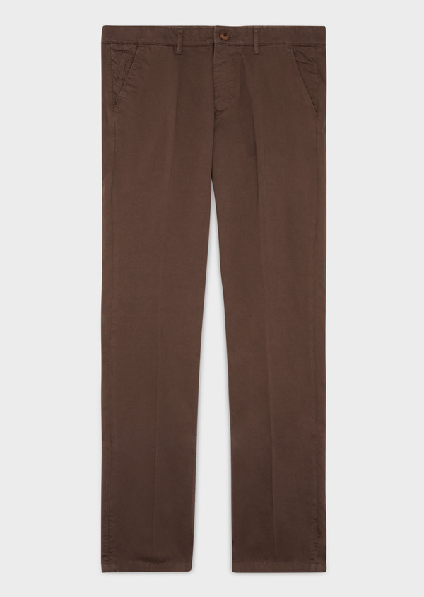 Chino slack skinny en coton stretch uni marron foncé - Father and Sons 37322