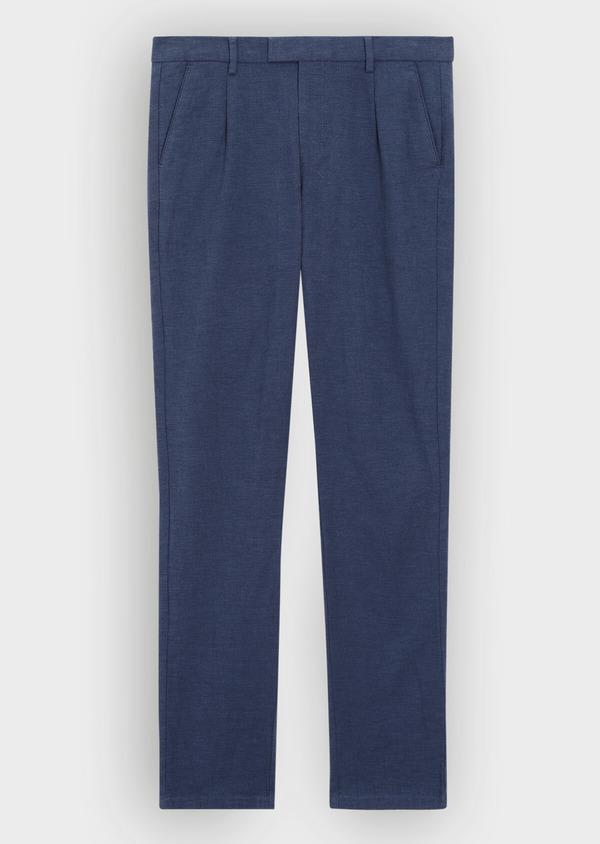 Pantalon casual skinny en coton stretch uni bleu indigo - Father and Sons 36127