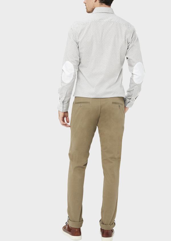 Chino slack skinny en coton stretch uni vert kaki - Father and Sons 36921