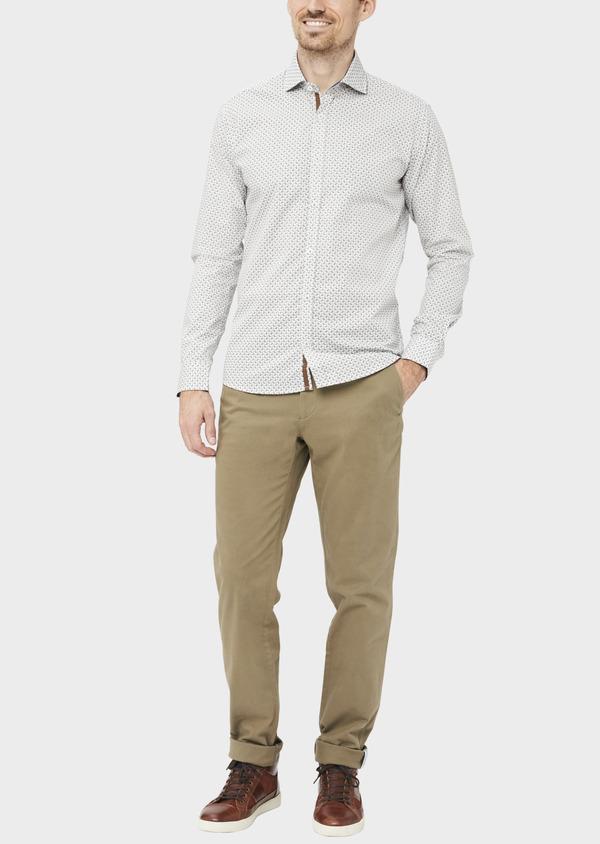 Chino slack skinny en coton stretch uni vert kaki - Father and Sons 36920