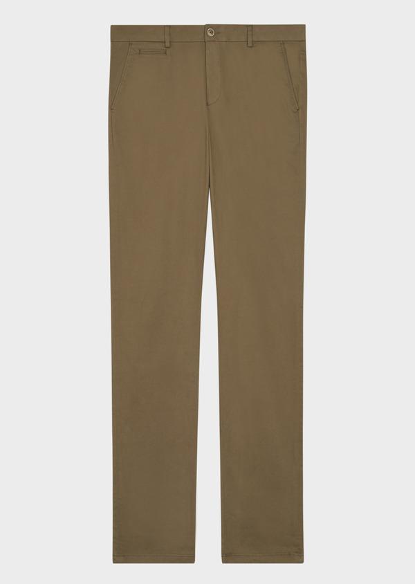 Chino slack skinny en coton stretch uni vert kaki - Father and Sons 36918