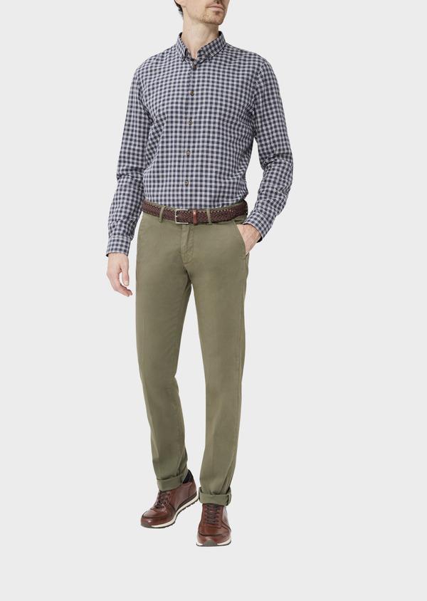 Chino slack skinny en coton stretch uni vert kaki - Father and Sons 37327