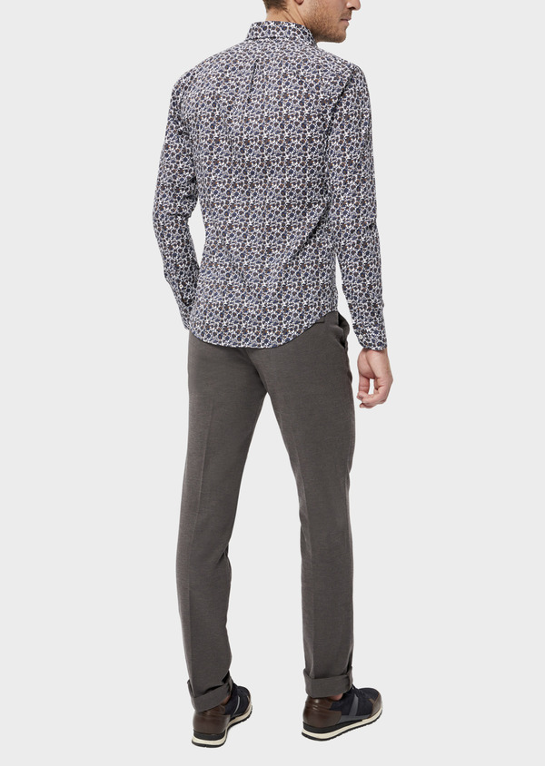 Pantalon casual skinny en coton stretch uni marron - Father and Sons 36142