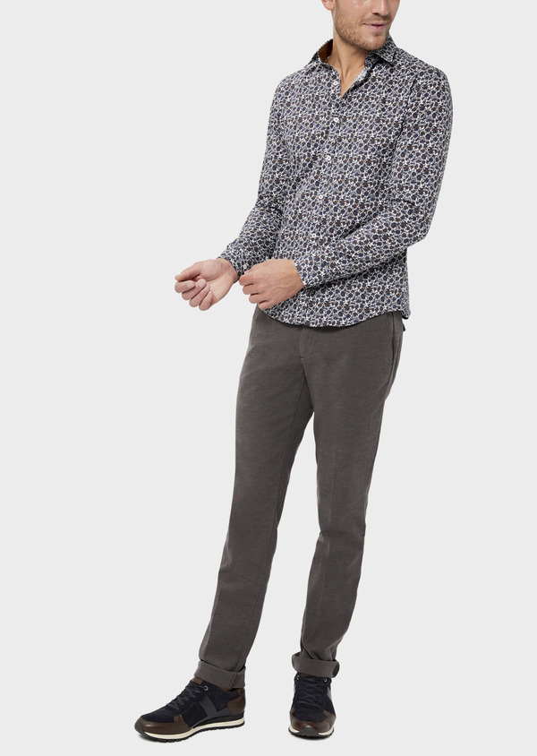 Pantalon casual skinny en coton stretch uni marron - Father and Sons 36141