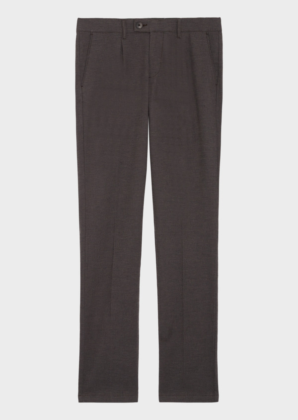 Pantalon casual skinny en coton stretch uni marron - Father and Sons 36139