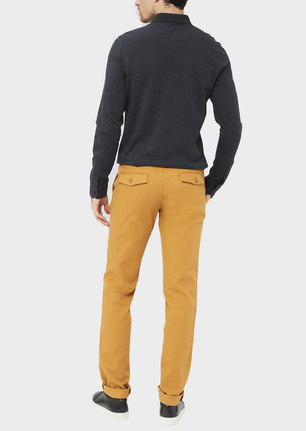 Chino slack skinny en coton stretch uni jaune moutarde - Father and Sons 37032
