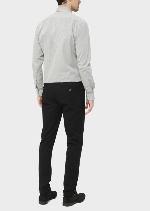 Pantalon casual skinny en coton stretch uni noir - Father and Sons 37168