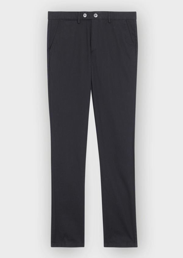 Pantalon casual skinny en coton stretch uni noir - Father and Sons 37165