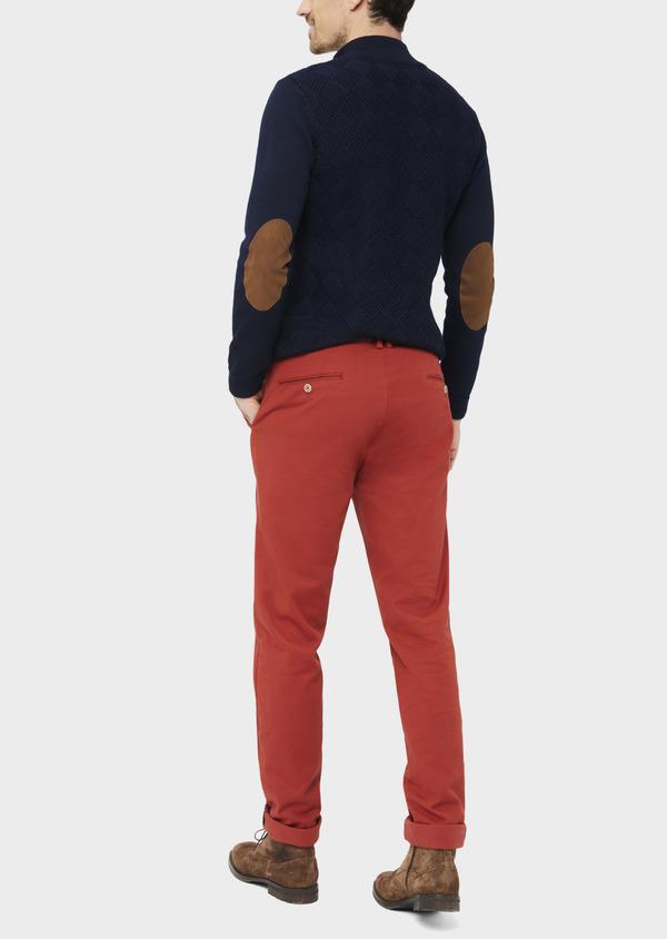 Chino slack skinny en coton stretch uni orange - Father and Sons 37173