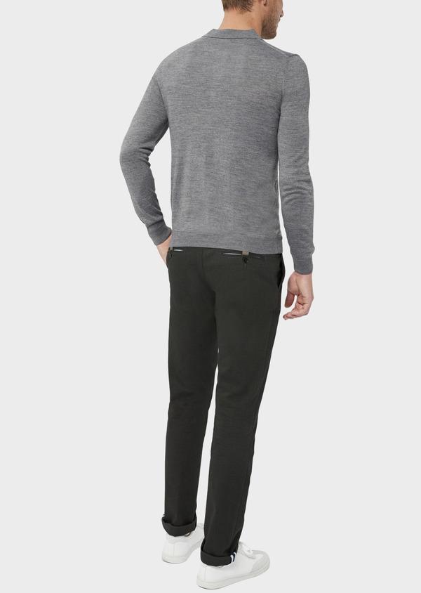 Pantalon coordonnable Slim en coton mélangé façonné à pois vert kaki - Father and Sons 36114