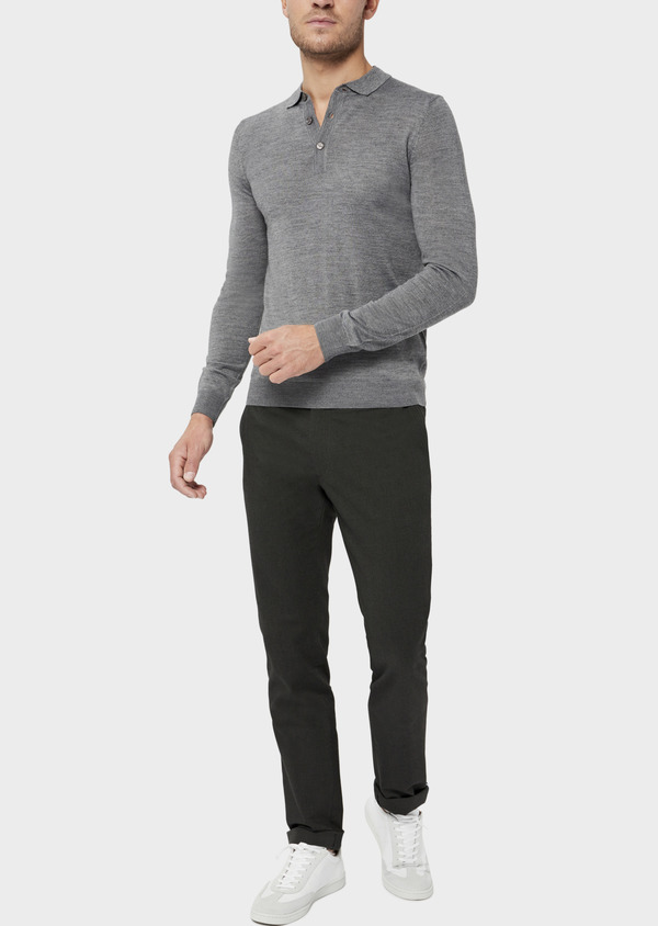 Pantalon coordonnable Slim en coton mélangé façonné à pois vert kaki - Father and Sons 36113