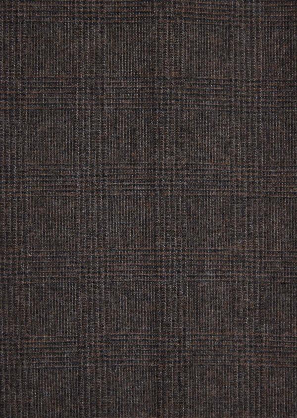 Pantalon coordonnable Slim en laine mélangée marron Prince de Galles - Father and Sons 37022