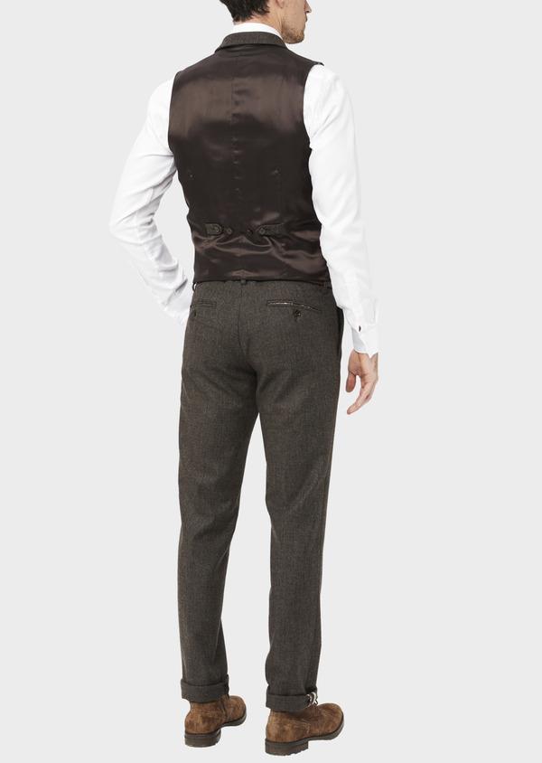 Pantalon coordonnable Slim en laine mélangée marron Prince de Galles - Father and Sons 37024