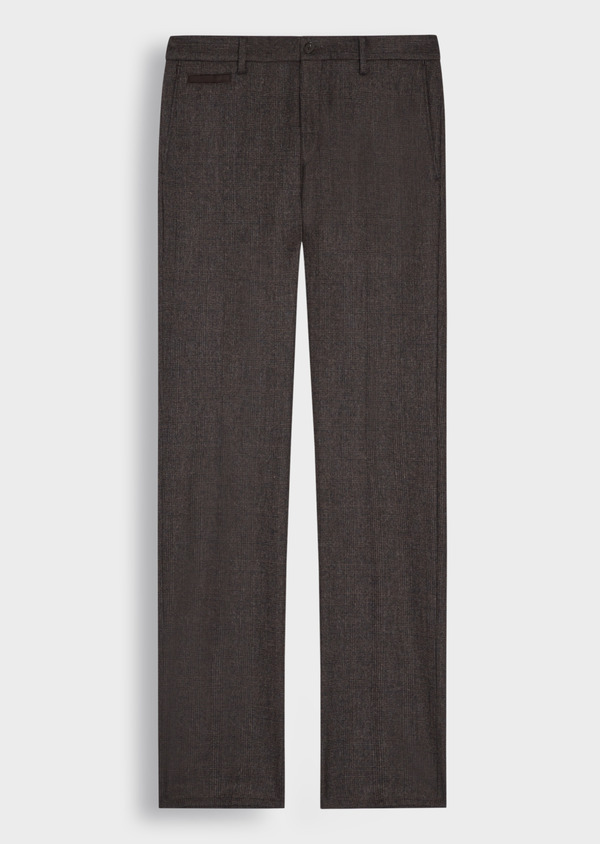 Pantalon coordonnable Slim en laine mélangée marron Prince de Galles - Father and Sons 37021