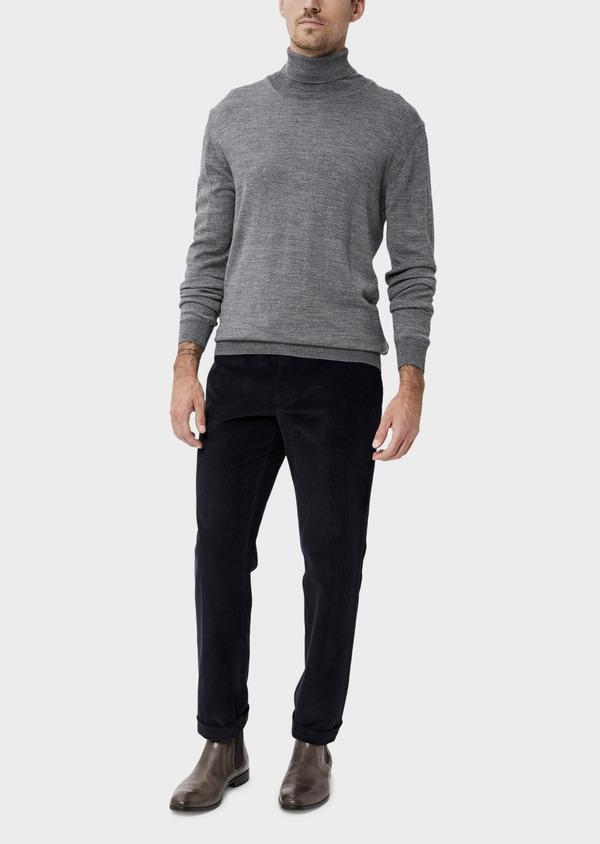 Pantalon coordonnable Slim en velours côtelé uni bleu indigo - Father and Sons 35388