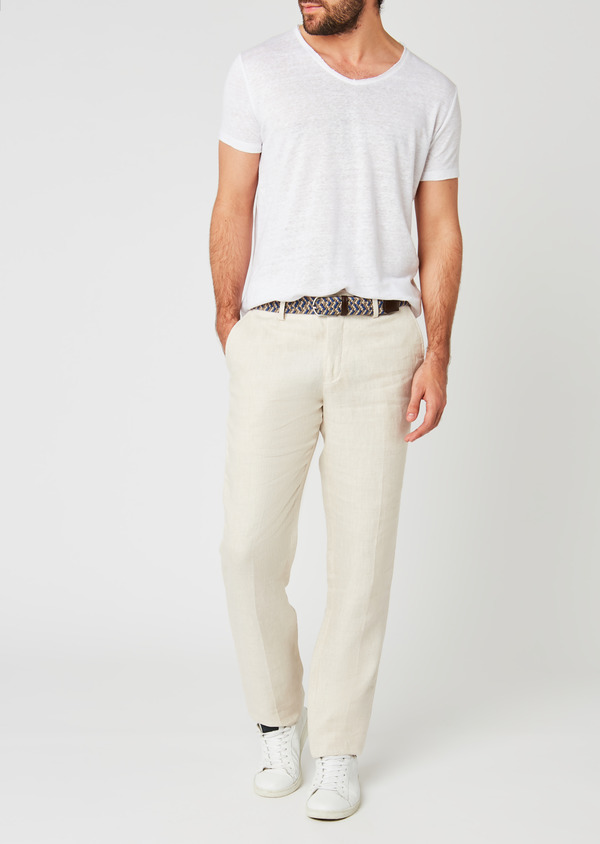 Pantalon coordonnable regular en lin uni beige - Father and Sons 20207