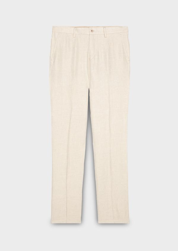 Pantalon coordonnable regular en lin uni beige - Father and Sons 20205
