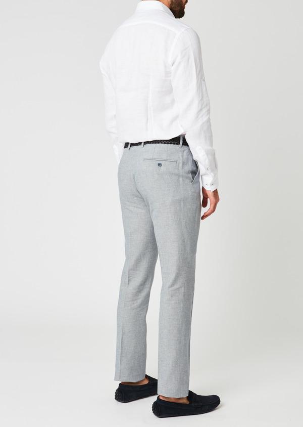Pantalon coordonnable skinny en lin mélangé gris - Father and Sons 20214