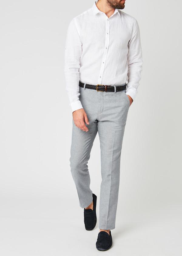 Pantalon coordonnable skinny en lin mélangé gris - Father and Sons 20213