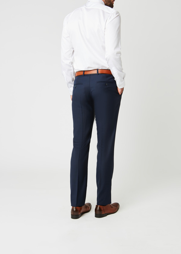 Pantalon de costume Regular en laine Vitale Barberis Canonico bleu marine Prince de Galles - Father and Sons 20030