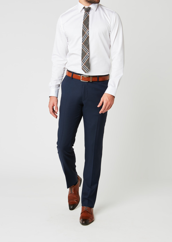 Pantalon de costume Regular en laine Vitale Barberis Canonico bleu marine Prince de Galles - Father and Sons 20029