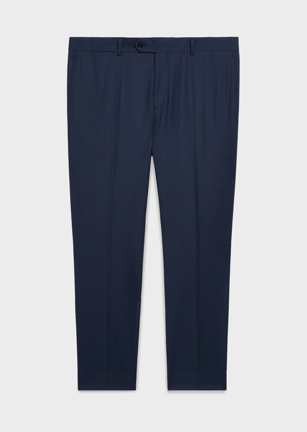 Pantalon de costume Regular en laine Vitale Barberis Canonico bleu marine Prince de Galles - Father and Sons 20027