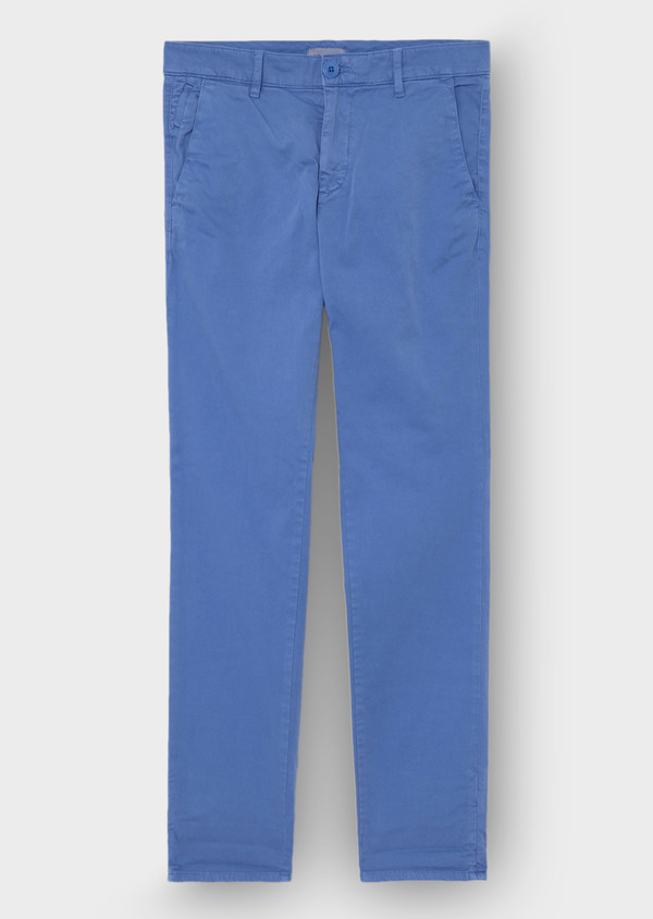 Chino slack skinny en coton stretch uni bleu - Father and Sons 30138