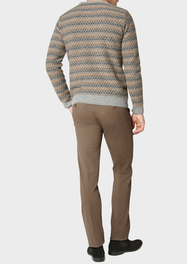 Chino slack skinny en coton stretch beige foncé à motif fantaisie - Father and Sons 31160