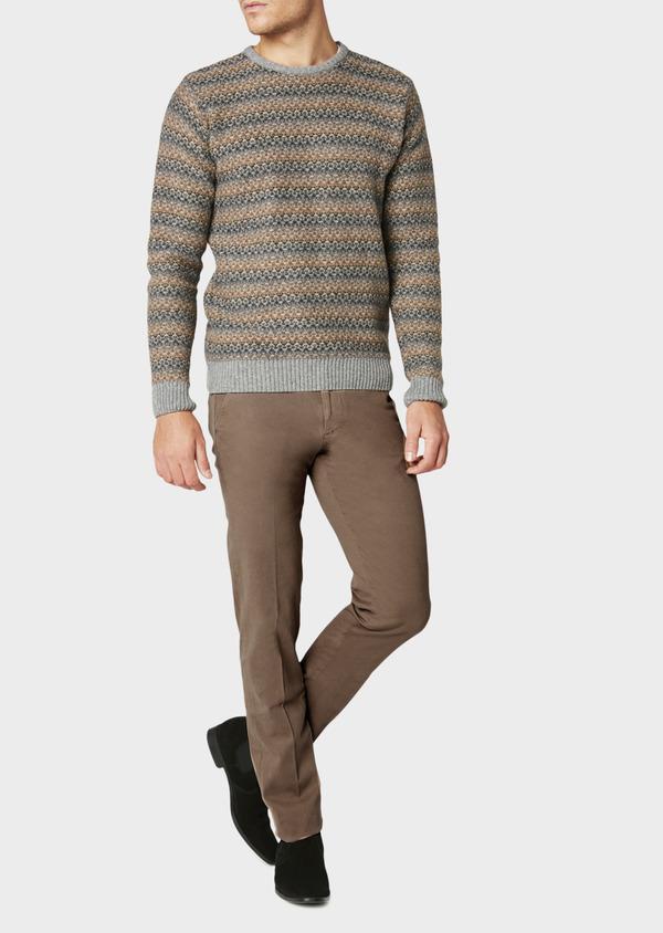 Chino slack skinny en coton stretch beige foncé à motif fantaisie - Father and Sons 31159