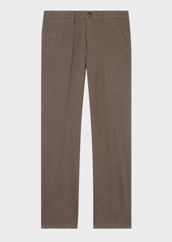Chino slack skinny en coton stretch beige foncé à motif fantaisie - Father and Sons 31157