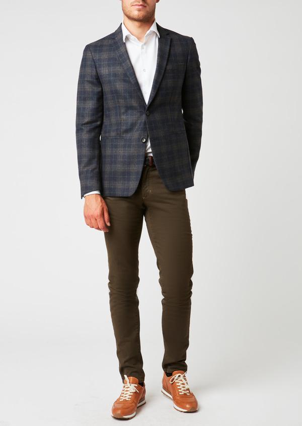 Pantalon skinny en coton beige foncé à motif fantaisie - Father and Sons 26977